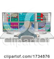 Poster, Art Print Of Rear View Of A Man Working The Stock Exchange At Computers