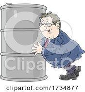 Chubby Businessman Pushing An Oil Barrel