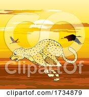 Poster, Art Print Of Cheetah Running Against Sunset