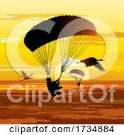 Poster, Art Print Of Sky Divers At Sunset