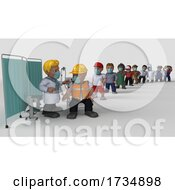 3D Cartoon Characters Getting Covid19 Vaccine
