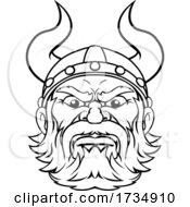 Poster, Art Print Of Viking Warrior Barbarian Mascot Cartoon Face