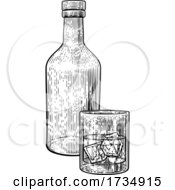 Drink With Ice Glass And Bottle Vintage Style