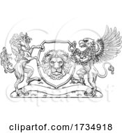 Poster, Art Print Of Coat Of Arms Crest Griffin Horse Family Shield