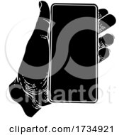 Hand Holding Mobile Phone Vintage Style