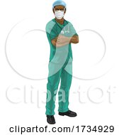 Doctor Or Nurse In Scrubs Uniform And Medical PPE by AtStockIllustration