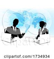 Poster, Art Print Of News Anchor Silhouette Tv Reporter Presenters