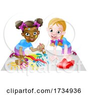 Poster, Art Print Of Little Girls Playing With Car And Painting