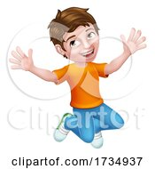 Poster, Art Print Of Happy Jumping Boy Kid Child Cartoon Character