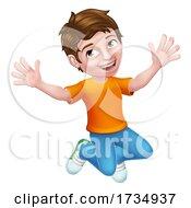 01/17/2021 - Happy Jumping Boy Kid Child Cartoon Character