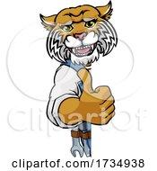 Wildcat Plumber Mechanic Handyman Peeking Sign by AtStockIllustration