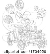 Easter Bunny Rabbit Driving An Antique Car With Balloons