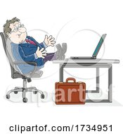 Poster, Art Print Of Business Man With His Feet Up On A Desk