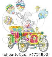 Easter Bunny Driving An Antique Car With Balloons