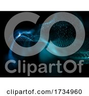 3D Abstract Cyber Particles Background With Shallow Depth Of Field
