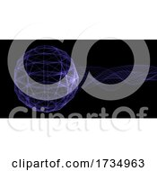 Poster, Art Print Of Abstract Banner With Plexus Globe And Flowing Particles