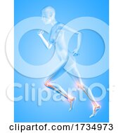 3D Female Figure Running With Knee And Ankle Bones Highlighted