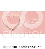 Valentines Day Banner Design with Gold Glitter and Heart by KJ Pargeter #COLLC1734985-0055