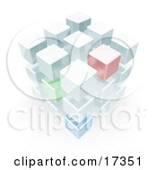 Complex Block Made Up Of Green Red And Blue Cubes Clipart Illustration