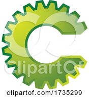 01/20/2021 - Green Gear Cog In The Shape Of The Letter C