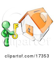 Lime Green Businessman Holding A Skeleton Key And Standing In Front Of A House With A Coin Slot And Keyhole Selling Or Purchasing A Home