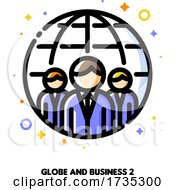 Icon Of Three Business Persons On A Background Of Globe For International Team Or Global Business Concept