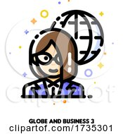 Poster, Art Print Of Icon Of Businesswoman On A Background Of Globe For International Businessperson Concept