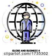 Poster, Art Print Of Icon Of Businessman On A Background Of Globe For International Businessperson Concept