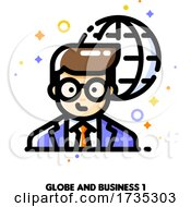 Icon Of Businessman On A Background Of Globe For International Businessperson Concept