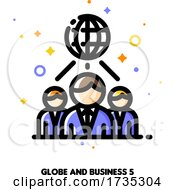 Poster, Art Print Of Icon Of Globe And Three Business Persons For International Team Or Global Business Concept