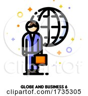 Icon Of Businessman With Briefcase On A Background Of Globe For International Agent Or Broker Concept