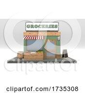 3D Cartoon Grocery Market