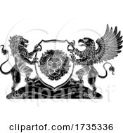 Poster, Art Print Of Coat Of Arms Crest Griffin Lion Family Shield Seal