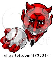 Devil Satan Baseball Ball Sports Mascot Cartoon by AtStockIllustration