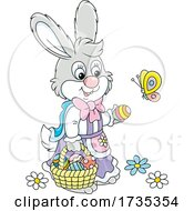 Female Bunny Gathering Easter Eggs