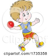 Track And FIeld Boy Throwing Shot Put