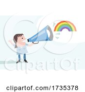 Woman Announcing With A Rainbow