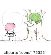 Poster, Art Print Of Stick Man Talking To A Tree With Visible Brains