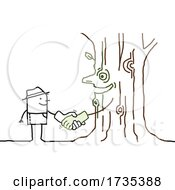 Poster, Art Print Of Stick Man Shaking Hands With A Tree