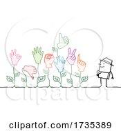 Poster, Art Print Of Stick Man Gardener With Hand Plants