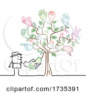 Stick Man Farmer Shaking Hands With A Tree
