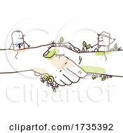 Stick Man And Farmer On Giant Shaking Hands