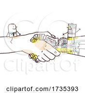 Poster, Art Print Of Stick Man And Robot On Giant Shaking Hands