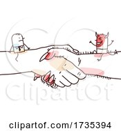 01/23/2021 - Stick Man And Devil On Giant Shaking Hands