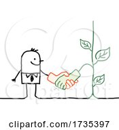 01/23/2021 - Stick Man Shaking Hands With A Plant