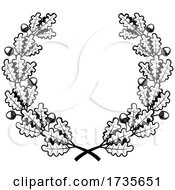 Black And White Acorn And Oak Leaf Wreath