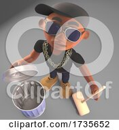 3d Black Hip Hop Rapper in Baseball Cap Cleaning with a Trash Can and Broom by Steve Young #COLLC1735652-0194