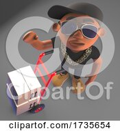 3d Black Hip Hop Rapper in Baseball Cap Delivers Boxes and Packages with Hand Cart by Steve Young #COLLC1735654-0194