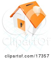 Orange And White House With A Coin Slot On The Roof And A Keyhole In The Door Over A Blue And White Grid