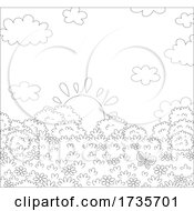 Poster, Art Print Of Sunrise Or Sun Set With Clouds And Bushes Black And White
